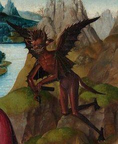 Master of the Rotterdam Saint John on Patmos - - - Saint John the Evangelist on Patmos. Detail / demonio, diablo, devil, demon by linda Macabre Art, Danse Macabre, Renaissance Paintings, Renaissance Art, Arte Horror, Horror Art, St John The Evangelist, Satanic Art, Demon Art