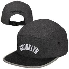 Mitchell & Ness Brooklyn Nets Heather Flannel Five-Panel Current Adjustable Hat - Black/Gray