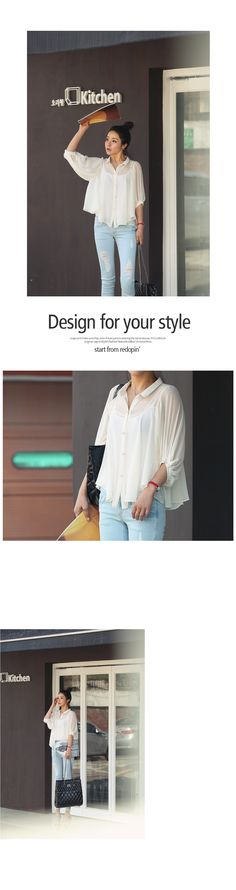 Elbow-Sleeve Chiffon Blouse, Ivory , One Size - REDOPIN | YESSTYLE