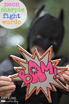 Neon Sharpie Fight Words with Batman & Robin Halloween Costumes-- too cute! | Just a Girl and Her Blog