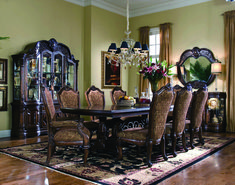 AICO Furniture - Windsor Court 10 Piece Rectangular Dining Room Set in Vintage Fruitwood - Cheap Dining Room Sets, Formal Dining Set, Dining Sets, Dining Room Furniture, Dining Chairs, Dining Table, Room Chairs, Round Dining, Corner Furniture