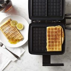 Waffle sticks make a fun and delicious treat, whether served with maple syrup for breakfast or dipped in chocolate fondue for dessert. Crafted of durable cast aluminum, this innovative stovetop pan by Nordic Ware cooks four fluffy waffle sticks wi… Best Waffle Maker, Belgian Waffle Maker, Belgian Waffles, Ice Cream Waffle Cone, Waffle Mix, Waffle Iron, Waffle Sticks, How To Make Waffles, Fluffy Waffles