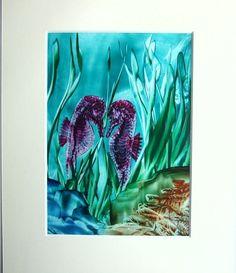 Encaustic Art -  Seahorses Violet 7 x 5 £12.95