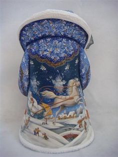 all the details in the design and hand painted scene of the snow queen on the back of the blue cloak of the Russian Santa (BACK)