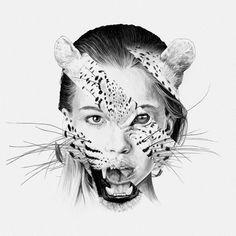 Animal instinct (By: Chamo San) # Creative Illustration, Illustration Art, Desenho Tattoo, A Level Art, Ap Art, Gcse Art, Art Drawings Sketches, Art Plastique, Art Pages