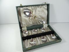 Silverplate Berry Spoon Set in Box - 7 Spoons - 6 Berry Spoons with 1 Large Serving Spoon - Silverplate Spoon Set in Box - Berry Spoon by SecondWindShop on Etsy