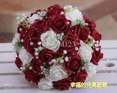 Wholesale Wedding Bouquet - Buy Wedding Favors Wedding Bouquet Sweetheart Roses Artifical Silk Flower Bride Holding Flowers <<< Red Ghugh, $24.0 | DHgate