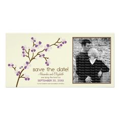 Lilac/Ivory Cherry Blossom Save the Date Photocard Picture Card #purplewedding #weddings #savethedate