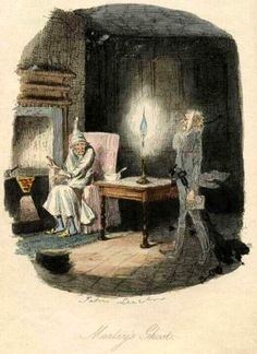 "John Leech's ""Marley's Ghost"" illustration from ""A Christmas Carol,"" Dickens (1843)"