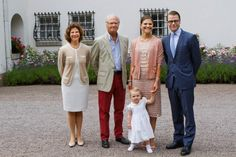 L-R: Queen Silvia, King Carl Gustav, crown princess Victoria, prince Daniel and princess Estelle celebrate the 36th birthday of crown princess Victoria at the courtyard of the Swedish Royal Family's summer residence Solliden, on the Island Oland, Sweden, 14 July 2013.