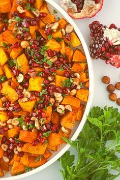 Roasted Squash with Hazelnuts and Pomegranate #roastedsquash #roastedsquashhazelnutspomegranate #buttercupsquash #squashsalad This beautiful dish is perfect for a special occasion but is so easy and delicious it really works for any day.