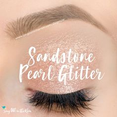 Limited Edition Sandstone Pearl Glitter is a glistening light sand shade with silver, gold & champagne glitter.  It is a SeneGence ShadowSense, long-lasting eyeshadow.  #sandstonepearlglitter #glitter #shadowsense