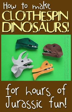 Dollar Store Craft - Clothespin Dinosaur Craft by Amanda Formaro of Crafts by Amanda Kids Crafts, Craft Activities For Kids, Easy Crafts, Craft Projects, Arts And Crafts, Preschool Crafts, Spanish Activities, Vocabulary Activities, Learning Spanish