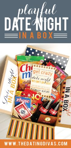 Date Night in a Box - Playful Theme  For this date night they included: *Various sets of cards {Uno, Phase 10, and Face Cards} *Boggle *Chex Mix Muddy Buddies *Coke *Whose Line Is it Anyway?  www.TheDatingDivas.com