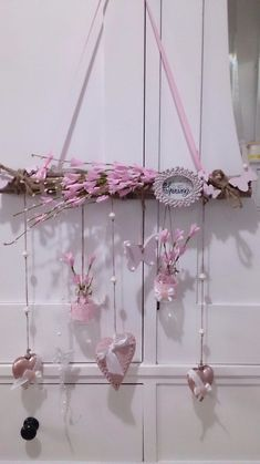 All Details You Need to Know About Home Decoration - Modern Valentine Day Crafts, Easter Crafts, Christmas Crafts, Wood Crafts, Diy And Crafts, Spring Decoration, Branch Decor, Hanging Mobile, Valentine's Day Diy