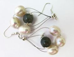Pearl earring Labradorite earring dangle by HanoverMerryMakers, £14.95