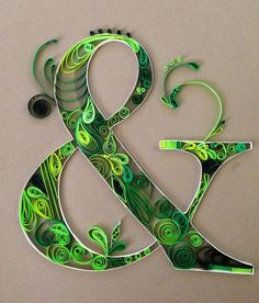 Quilled Ampersand Green & Grey Wedding colors. by Purploon
