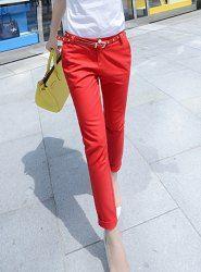 $11.72 Solid Color Low Waist Pocket Design Slimming Pants For Women