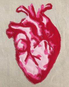 I'll have this heart in the show at @the_artbar  On few 5th. I've been wanting to make this for years.  I just got to the point that I can make the pattern and see it up myself plus having the time to do it.  I've got to stretch her still. 8by10. #makestuff #freemotion #embroidery #handmade #heart #anatomy #anatomynerd #biology #humanheart #valentines #dta #artshow