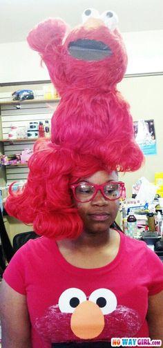 Elmo-hairstyle. I´m speechless.