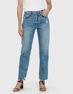 Straight leg jeans from GRLFRND in No Limit. Who What Wear, Distressed Jeans, Stretch Denim, Mom Jeans, Style Inspiration, How To Wear, Outfits, Clothes, Circuit