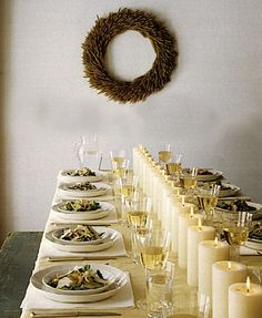 Simple and subtle tablescape for #Thanksgiving. Love the long line of candles.
