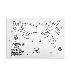 Christmas Reindeer Doodle Pillowcase with Fabric Markers