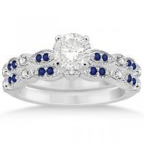 Wedding bad set - diamond center with double small sapphire stones