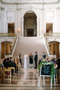 Greg and Daisy were married in a stunningly sweet ceremony at San Francisco City Hall, after which they celebrated their new marriage with champagne and appetizers with a daytime wedding reception at La Mar on the Embarcadero. Soft blushes, greenery and beautiful touches accented this classic and elegant affair.