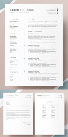 18 Perfect CV Resume Templates | Graphics Design | Graphic Design Blog