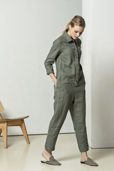 21725bff9106ea Loose fit, front buttoned, shirt collar, with side pockets and belt. Linen  romper, linen overall
