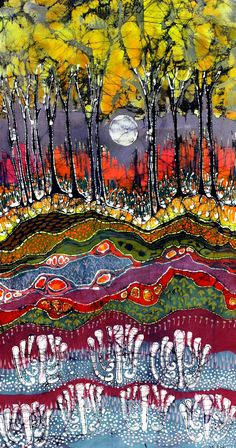 Excited to share the latest addition to my #etsy shop: Moonlight Over Spring - Art - batik landscape - large print from original batik