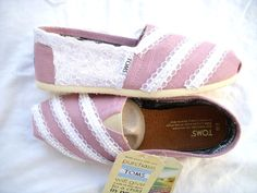 Lace and Pearls on Light Pink TOMS Original by by FruitfulFeet, $125.00    I could probably do this myself...