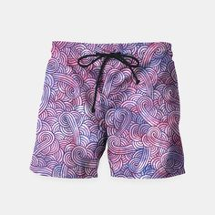 """""""Purple zentangles"""" Swim Shorts by Savousepate on Live Heroes #swimshorts #apparel #clothing #pattern #graphic #modern #abstract #doodles #zentangles #scrolls #spirals #arabesques #purple"""