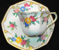 ROYAL-DOULTON-ENGLAND-HPT-ART-DECO-FLOWER-TEA-CUP-AND-SAUCER