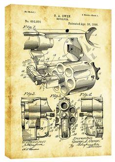 'Owen Revolver Vintage Patent' Blueprint Graphic Art on Wrapped Canvas Robot Concept Art, Weapon Concept Art, Homemade Weapons, Patent Drawing, Patent Prints, Technical Drawing, Graphic Art, Retro, Poster Prints