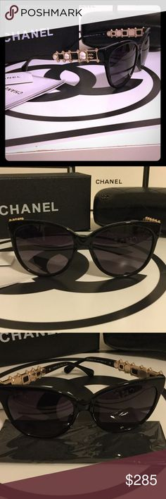 Crystal & Pearl CHANEL Sunglasses  Never worn. Chanel Sunglasses features gold accents and pearls framed by crystals. Absolutely stunning! Serial # etched on lense and down the glasses arm. Comes with box case, and unopened Chanel cloth. CHANEL Accessories Sunglasses
