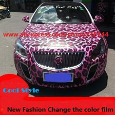 2014 NEW!!!size 1.52m*1m Car Color Change Film for the whole body Pink Leopard Carbon Fiber Vinyl for full body,Car Covers $35.00