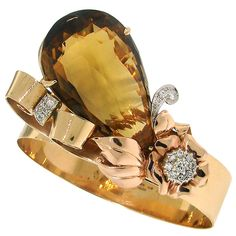 BIRKS Citrine, Diamond, Platinum & Gold  Retro Bracelet Circa 1940s