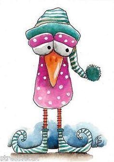 ACEO Original watercolor art painting whimsical animal night purple bird