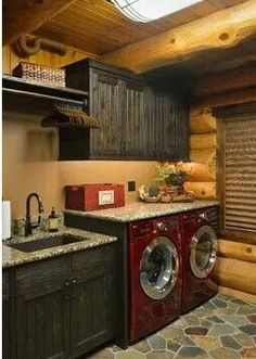 Fish Lake Cabin - rustic - laundry room - minneapolis - Lake Country Builders this whole design and color scheme in love with Barn House, House Design, Room Design, House, Home, Cabin Homes, Cabin Decor, Rustic Laundry Rooms, Rustic House