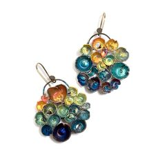 Earrings by Jill Hermans. Shibuichi. How cool is the colour! Must try this alloy!    i bet i could do this with titanium...