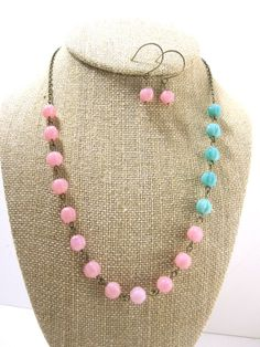 Color Block Necklace Pink Necklace Turquoise by kbjhandmade, $34.00