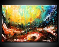 30x60 ORIGINAL Abstract Painting Modern Colorful by FariasFineArt