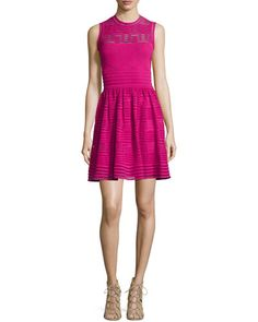 TAMPN M Missoni Solid Sleeveless Rib-Stitched Dress