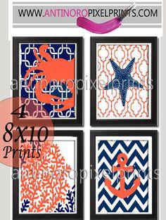 Digital Print Beach House Prints Navy Blue Orange White Wall Art Vintage / Modern Inspired -Set of (4) -5x7Prints -  (UNFRAMED)