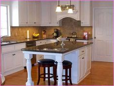 narrow kitchen island with seating at end - Google Search