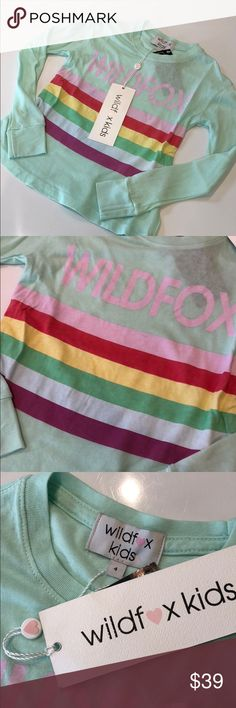 Wildfox Kids Ski Bunny Long Sleeve Tee Wildfox Kids Little Ski Bunny Long Sleeve Tee. Mint green long sleeves with logo and rainbow graphic on front. Size: 4, Color: Spring Water (mint green) Wildfox Shirts & Tops Tees - Long Sleeve