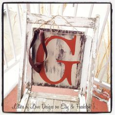 Letter Initial Wood Sign  Door Art  Letter G - or any letter - custom for you in your color scheme.  Great for wedding, shower gift, baby, anniversary, birthday, graduation present and more!