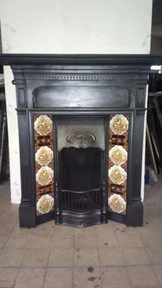 Reclaimed-Antique-victorian-edwardian-cast-iron-tiled-combination-fireplace